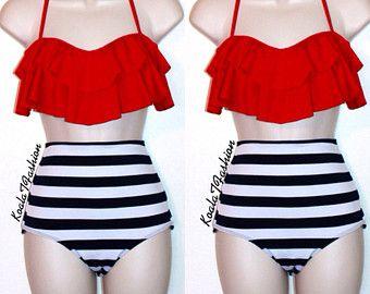 Retro Red Flounce Top & High Waist Bikini de rayas negras y rojo