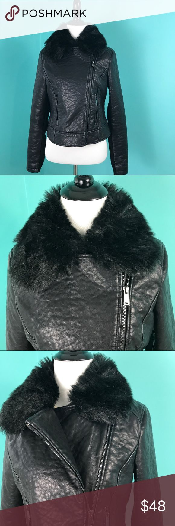 "Free People Black Faux Leather Fur Jacket Small Excellent jacket. Has a nice texture to it.  Very good condition. The ""leather"" is impeccable; just shows a little wear on the Knit/sweater-like fabric of the sleeves. Size Small. Free People Jackets & Coats"
