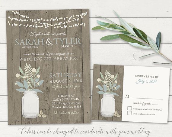 Rustic wedding invitation suite in coral and turquoise with a mason jar. Rustic Mason Jar wedding invitations and rsvp card designed with the spring, summer, fall or winter wedding in mind.