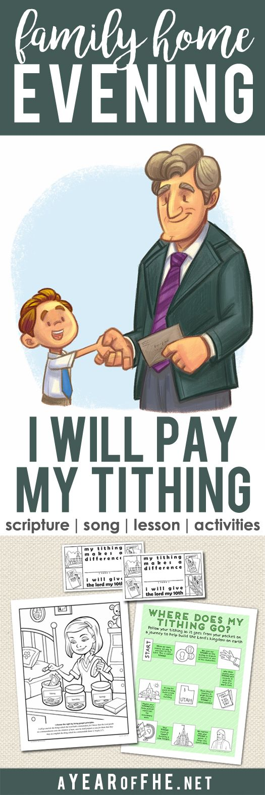 A Year of FHE // A Family Home Evening about how and why we pay tithing & the many blessings we get when we pay tithing. #lds #familyhomeevening #tithing