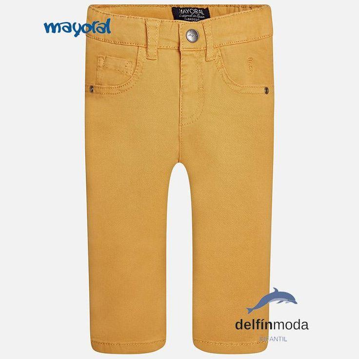 Pantalón largo de niño bebe MAYORAL básico color curcuma