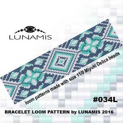 Loom bracelet pattern, loom pattern, square stitch pattern, pdf file, pdf pattern, cuff, #034L by LunamisBeadsPatterns on Etsy https://www.etsy.com/listing/281413512/loom-bracelet-pattern-loom-pattern