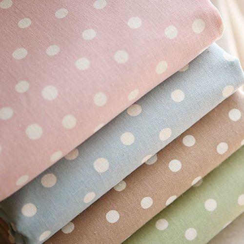 Shabby Chic Polka Dot Zakka Cotton Linen Fabric Top Quality (No.119) in Crafts, Fabric | eBay