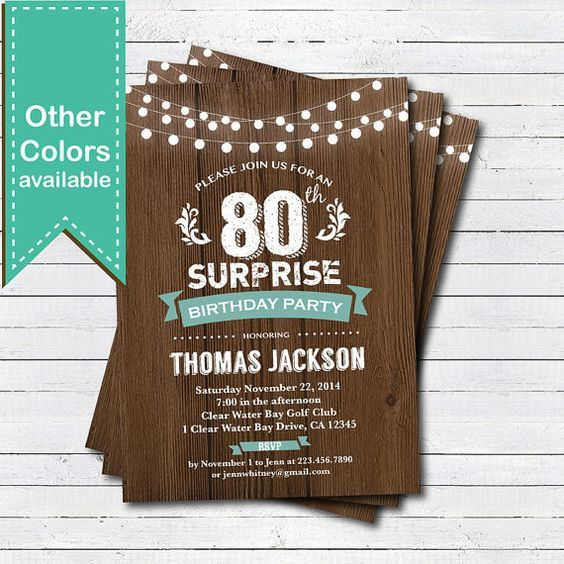 Surprise 80th birthday invitation. Man woman. Rustic by CrazyLime: