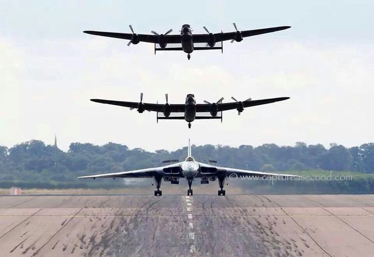 Vulcan and 2 Lancaster bombers...pretty cool