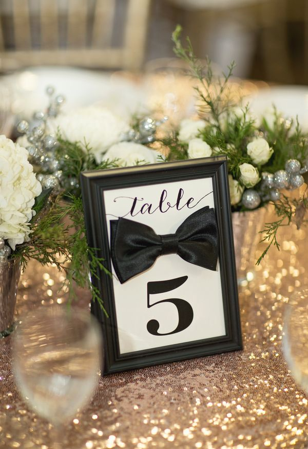 Black tie, table numbers, gold tablecloth // Paperlily Photography