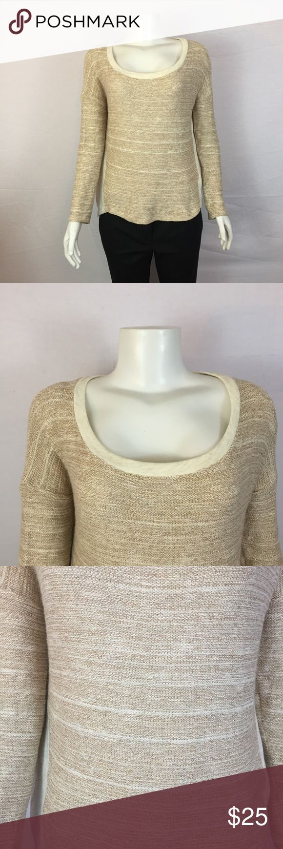 SPLENDID Gold Cream Long Sleeve Top Sz S ***All best reasonable offers accepted!*** Details: This is a beutiful Splendid top! Great for the office or a casual event.Style: 8009Cut: W039600Materials and Care Instructions:50% Cotton42% Rayon4% Lurex45 SpandexMeasurements (approx.)Length: 20 Inches front, 25 inches back(Bottom of neck to bottom of shirt)Bust: 44 Inches (Across the torso armpit to armpit doubled) Sleeve: 17 Inches (Shoulder to end of sleeve) Splendid Tops