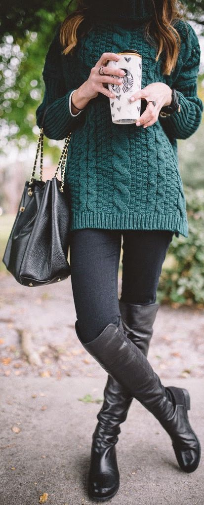 Dark Green Cable Knit Turtleneck by Sequins & Things