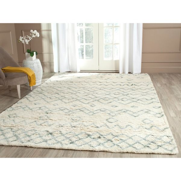 Safavieh Hand Tufted Casablanca Ivory Blue New Zealand Wool Rug 8 X