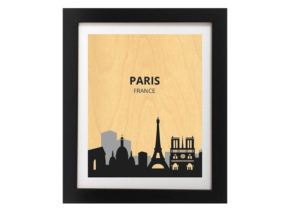 Paris City Silhoutte Modern Art Print  Black by TheWoodPaperShoppe