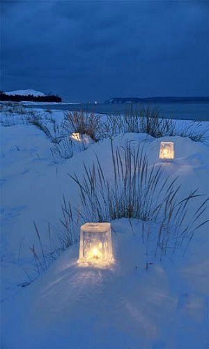 Ice lanterns.. (by Ken Scott on Flickr) Not to forget the sea once winter arrives~