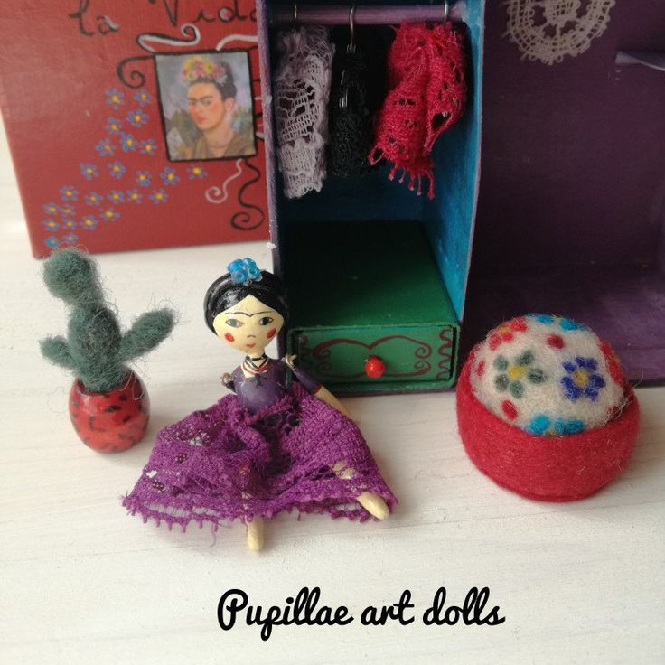 Personalize your mini doll in a box wardrobe  This is a 2 inches Frida I made for a customer