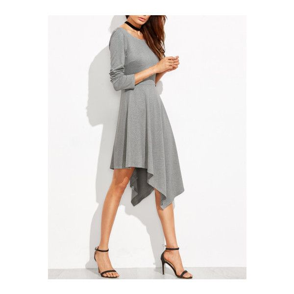 SheIn(sheinside) Heather Grey Long Sleeve Asymmetric Dress (£17) ❤ liked on Polyvore featuring dresses, grey, long sleeve dress, long sleeve skater dress, long-sleeve skater dresses, grey long sleeve dress and gray dress
