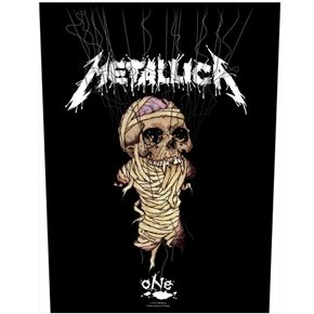 "Official Metallica sew on back patch featuring One design. Size measures approx 35cm (13.5"") length, 29cm (11.5"") across top and 26cm (10.25"") across bottom."