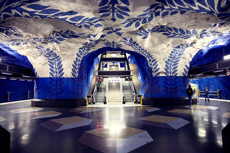 Stockholm Metro Station, Sweden    If only we could get Philadelphia's subway to look like this!