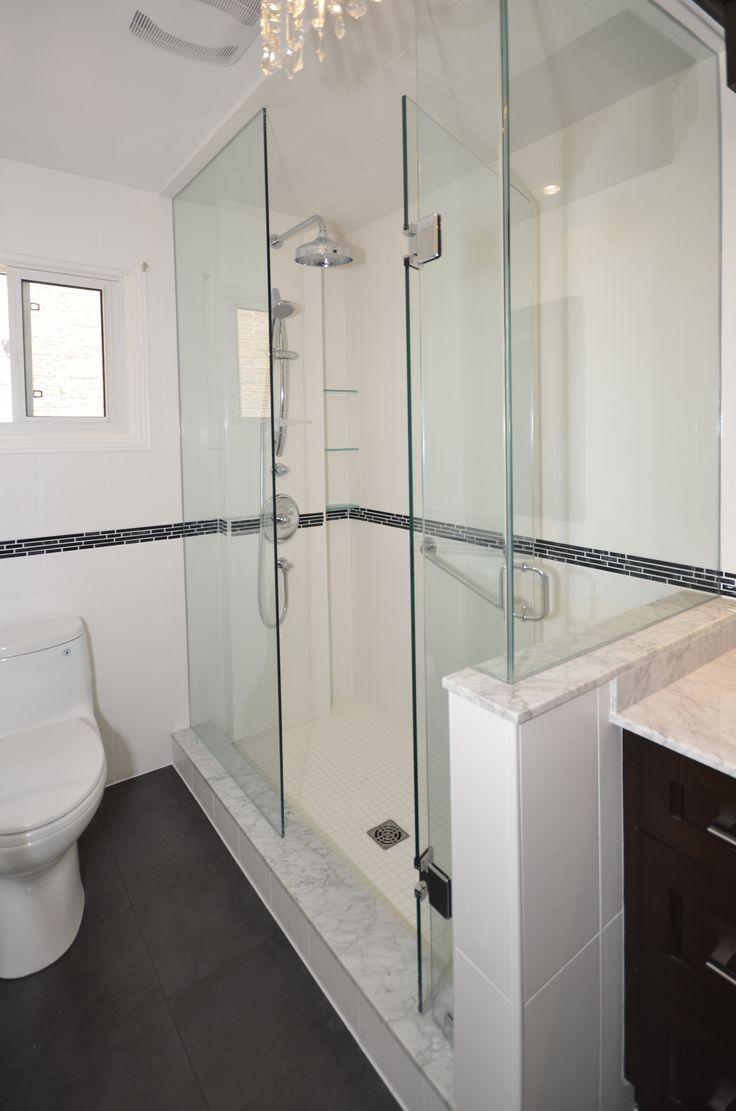 Custom Shower Enclosure on a Knee Wall | Full Bathroom Renovations Po…