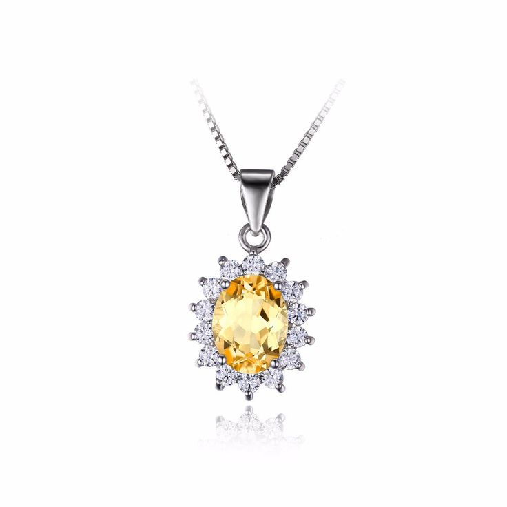 1.5ct Natural Citrine Gemstone Gemstone  Necklace for women, Solid 925 Sterling Silver Necklace from VS Crazy Deals