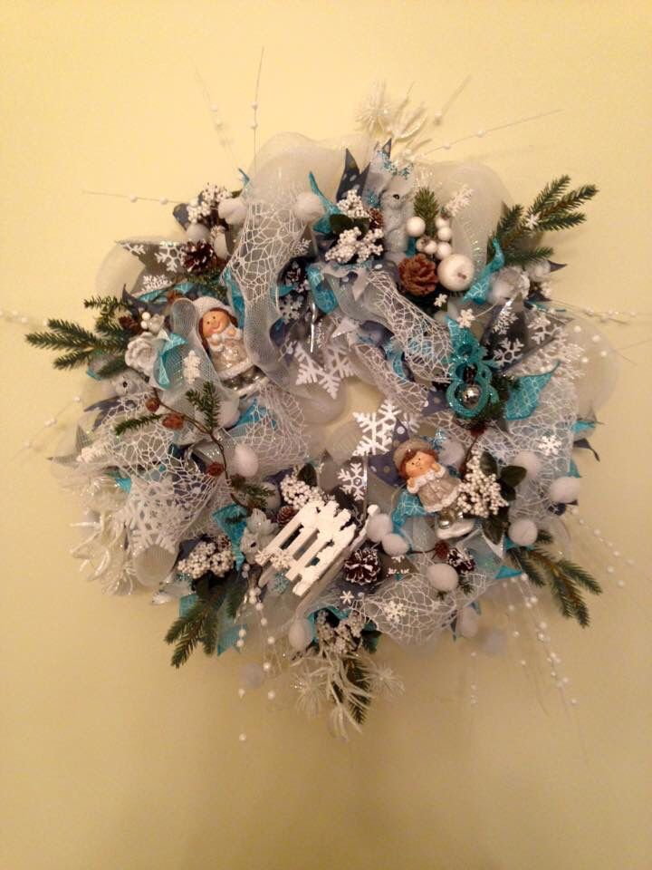 Winter wreath. Base deco mesh. Around 65 cm. Added ribbon strips. Winter dolls, sledge, snowflakes. More at https://www.facebook.com/Moje-vence-995508700482994/