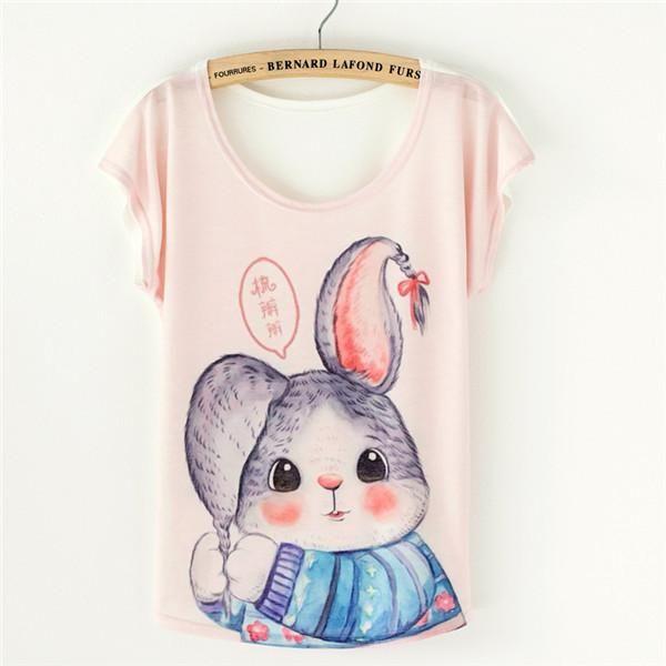 Women's T-shirt Short Sleeve Batwing Summer Tops Tees Printed T-shirt