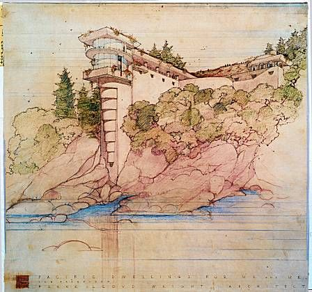 Another masterful coloured pencil drawing from the office of Frank Lloyd Wright. The colour graduations help to 'fade in' the drawings focus. Apparently he studied and was inspired by Japanese woodblock prints and their use of space and colour
