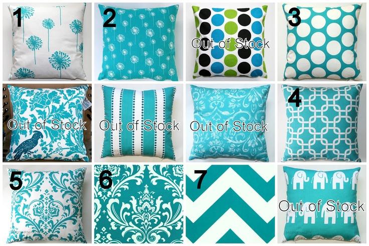 Premier Prints Turquoise Pillow Cover- 14x14 inches- Hidden Zipper Closure- You Choose. $14.95, via Etsy.: Pillows Covers, Elephants Pillows, Turquoise Lumbar, Prints Turquoise, Turquoi Pillows, Accent Pillows, Turquoise Pillows, Lumbar Pillows, 14X14 Inch