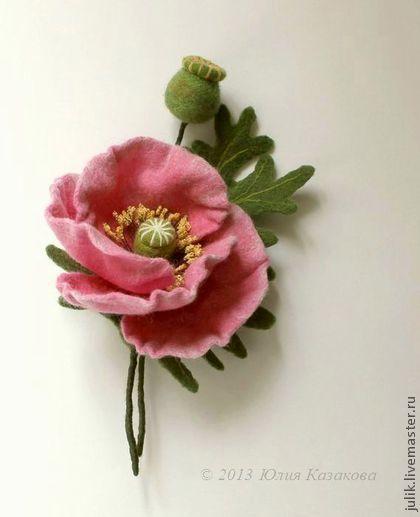 """Войлочная брошь """"Розовый мак"""" - розовый,мак,заленый,шерсть,валяние на каркасе"""