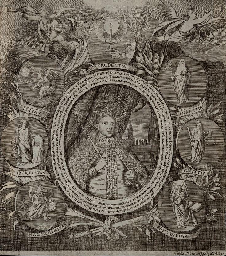 Портрет царевны Софьи Алексеевны. 1690 г. Христиан Вермют. Бумага, резец. 26,0 х 23,0.