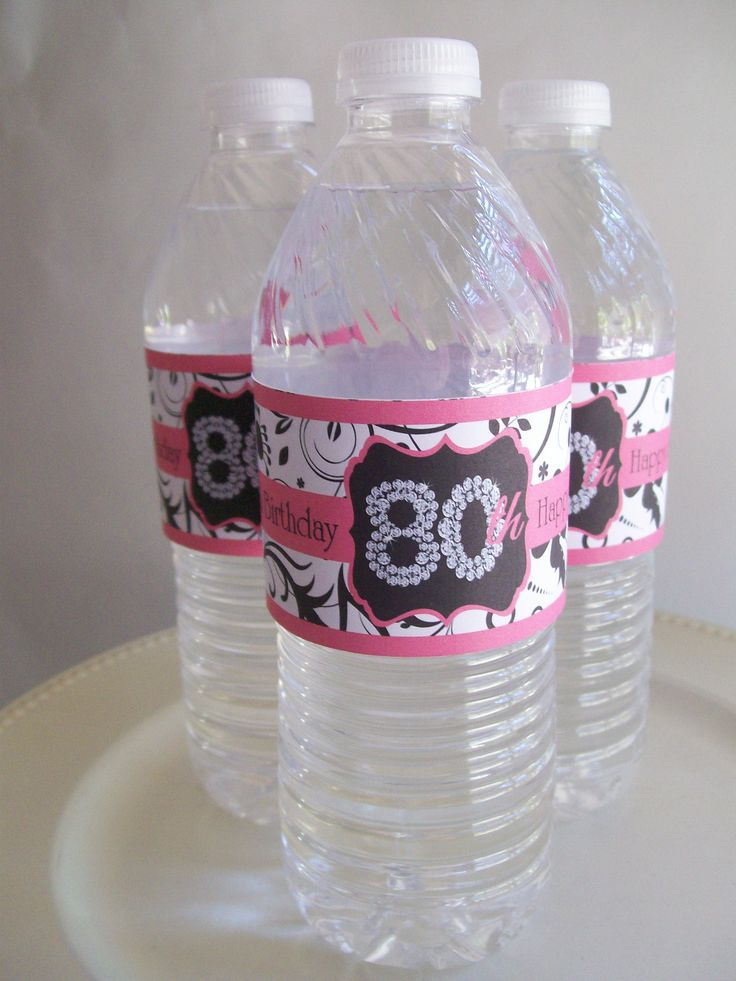 Water bottles 80th birthday party theme 80th birthday for 80th birthday decoration