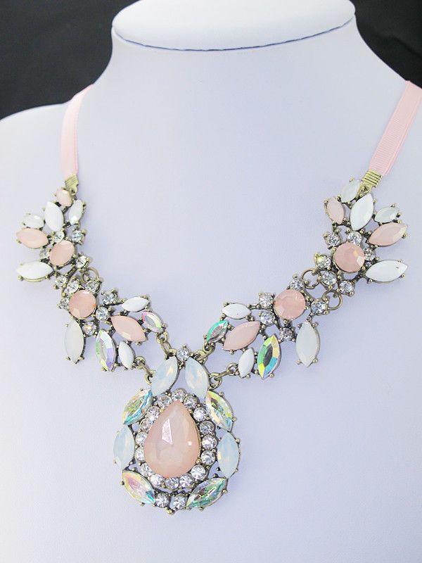 Collier Halskette Statement Kette Anhänger Kristall Acryl Bunt Blogger A100006