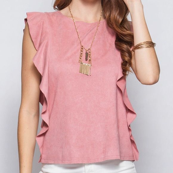 Faux suede short sleeve top with Ruffles Faux suede short sleeve top with Ruffles Tops Blouses