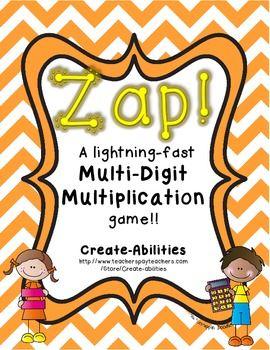ZAP! Multi-digit multiplication game! 2-4 players!  #mathcenters #mathgames