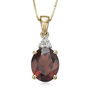 2.94 Carat Garnet and Diamond Accent Necklace 14kt Yellow Gold. 18""