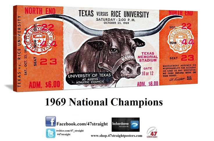 Texas Longhorn gift ideas. Texas Longhorns art from 47 STRAIGHT.™ 1969 National Champions. Perfect game room art made from an authentic untorn 1969 Rice vs. Texas football ticket. Unique Texas Father's Day gifts. #fathersdaygifts #fathersday2013 #uniquegifts 47 STRAIGHT™ and ROW 1.™ Sports gifts made from over 2,000 historic sports tickets.