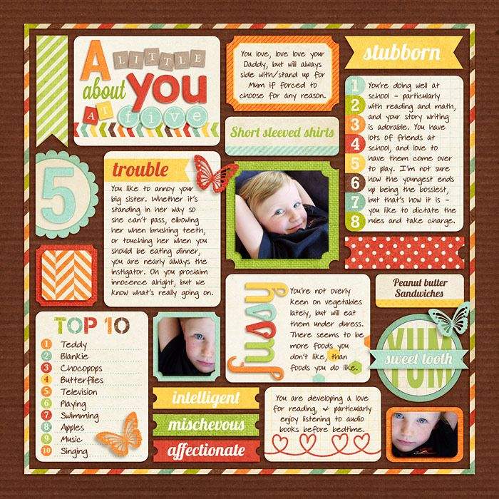 Love the blocking and the title work!   A Little About You At Five - by Jacinda