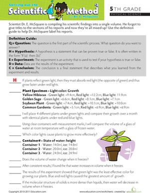 Sort Out the Scientific Method #3 | Worksheet | Education.com
