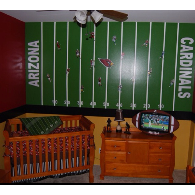 My baby boys nursery room... I wanted my husband to WANT to hang out in the baby's room so I made it a MAN CAVE! Arizona Cardinals room