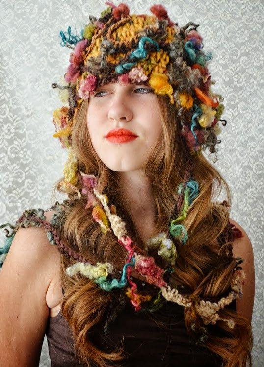 Freeform crochet hat Autumn Leaves by irinacarmen on Etsy, $88.00