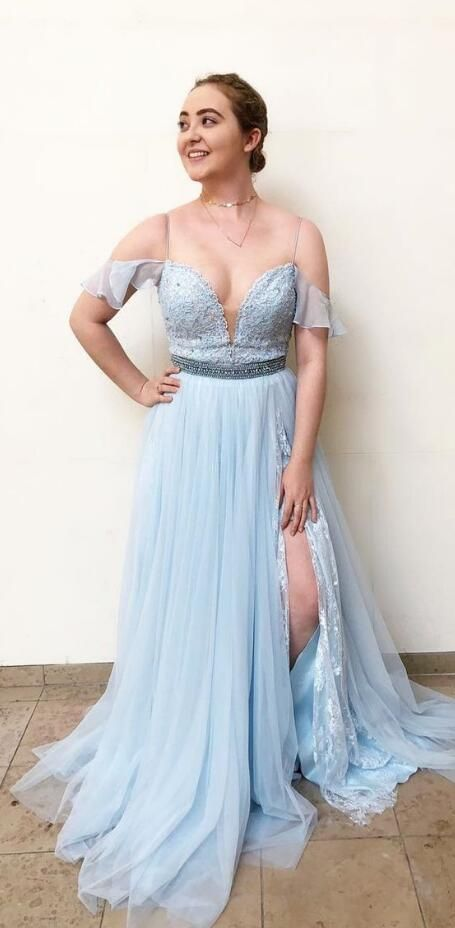 31b0241e5ad A-Line Square Sweep Train Cold Shoulder Blue Chiffon Prom Dress with ...