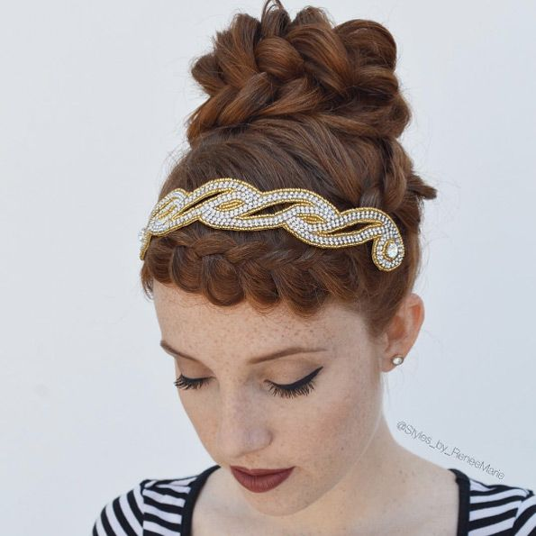 Braided bangs and headband by Renèe Marie