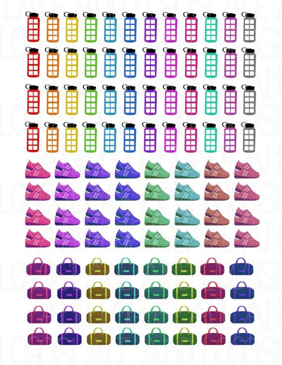 Printable Planner Stickers Fitness Gym Hydration Bottle Running