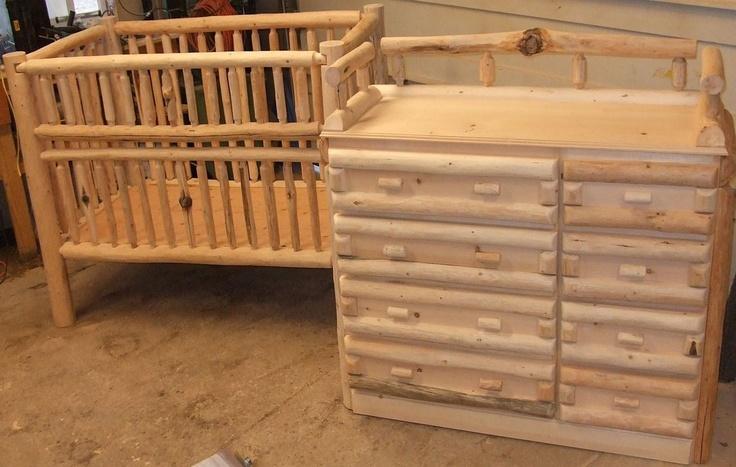 log baby crib and changing table dreser