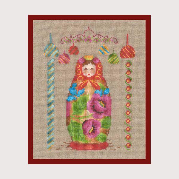 Matriochka réf. 2329 kit point de croix, point compté à broder sur toile aida création Cécile Vessière