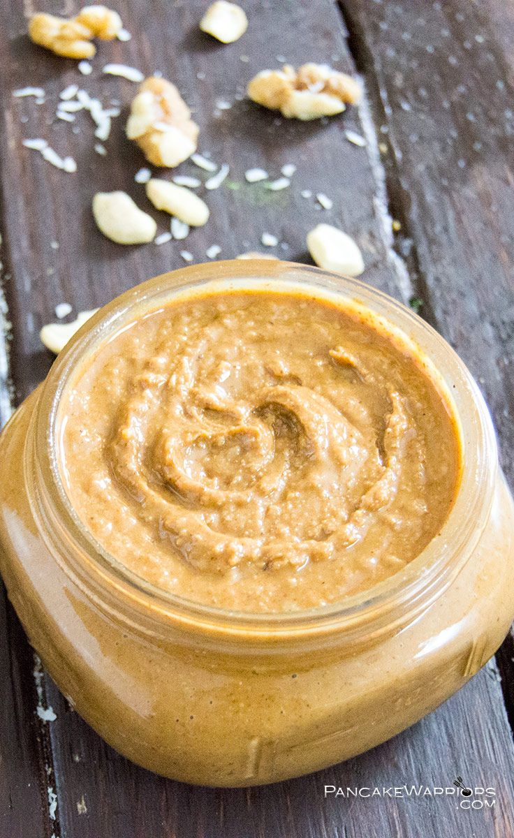 Move over nutella, this is going to be a new favorite! This cashew walnut coconut butter is so unique! Creamy nut butter with chunks of coconut flakes! Vegan, gluten free, paleo| www.PancakeWarriors.com
