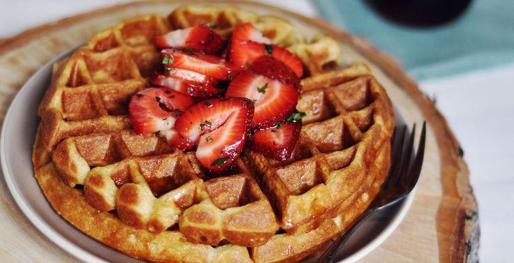 Cardamom and Nutmeg Waffled with Minted Strawberries | Dark Rye