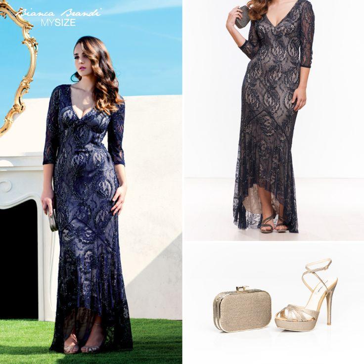 Bianca Brandi #MySize #Abito da sera blu, lungo ed elegantemente decorato da ricami che accompagnano la figura. Abbinabile con #pochette e #scarpe #oro della #collezione #Shoes&Bags #BiancaBrandi.  #fashion #fashiocurvy #curvy #plussize #mysize #curve #women#fashionaddicted # #moda #modadonna #abbigliamento #clothing #atelier #gold