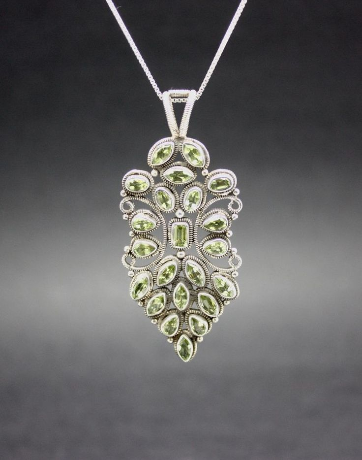 GENUINE PERIDOT STONES set in .925 Sterling Silver & CHAIN FREE FAST SHIPPING