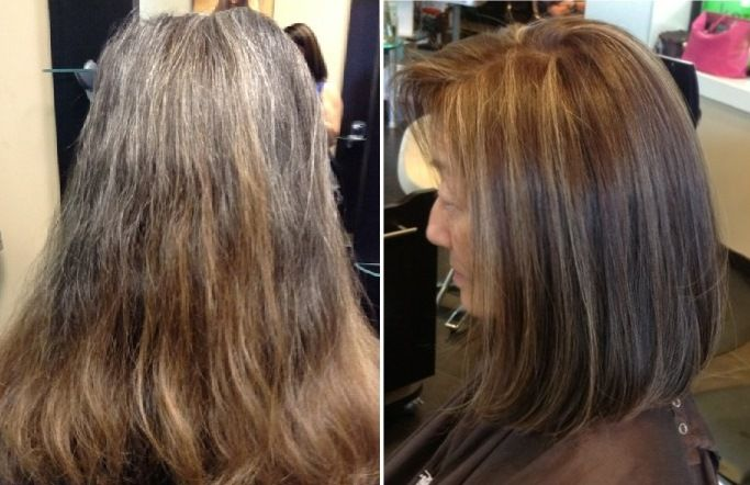 natural looking brunette color with dimensional highlights ...