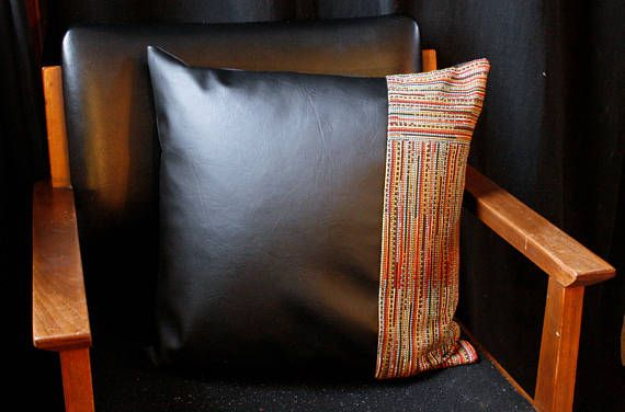 //product details// Faux leather pillow cover, with a panel of bohemian design. The back of the pillow is finished in a black backing, and the zipper closure is hidden. The pillow cover is 18x18. We recommending sizing up the pillow insert 1 or 2 sizes to really fill the cover.