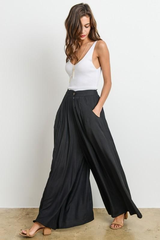 Pauline Palazzo pants in Black! - large / black / poly blend machine washable