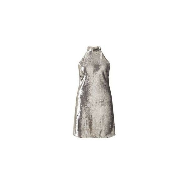 Sequin Silver Halter Dress ❤ liked on Polyvore featuring dresses, sequin embellished dress, halter dress, halter neck dress, silver sequin embellished dress and silver cocktail dress